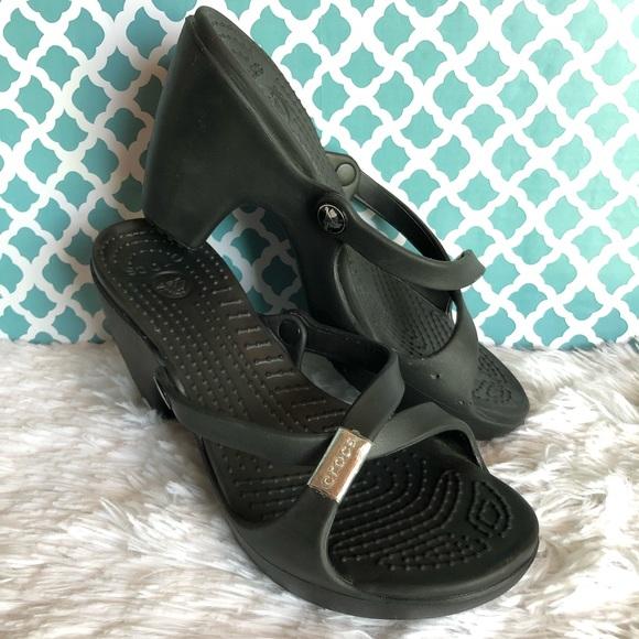 a28d1c55ee CROCS Shoes | Cyprus Black Strappy Sandal Open Toe Heel | Poshmark